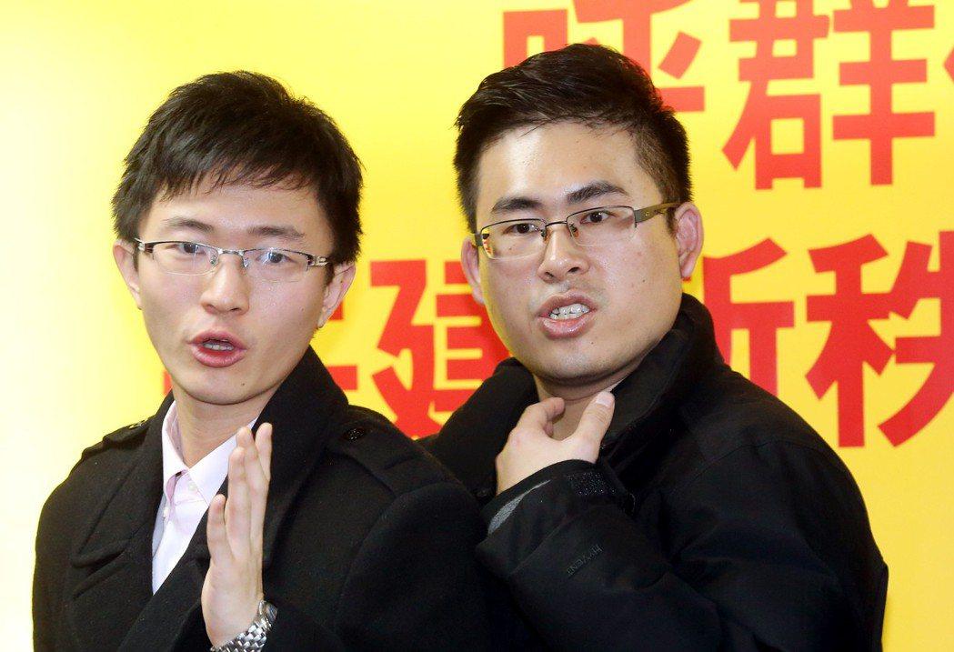 新黨青年軍侯漢廷(左)、王炳忠(右)。 圖/聯合報系資料照片