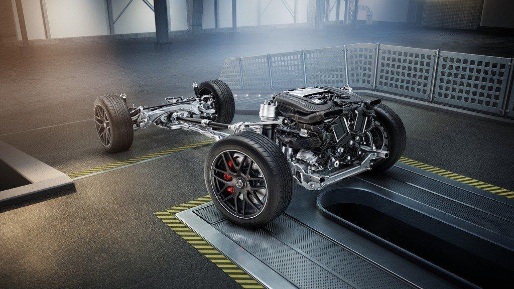 GLC首度上身AMG最強主動式四輪驅動系統、4.0升V8雙渦輪增壓引擎與MCT 9速多片式離合器。 圖/台灣賓士提供