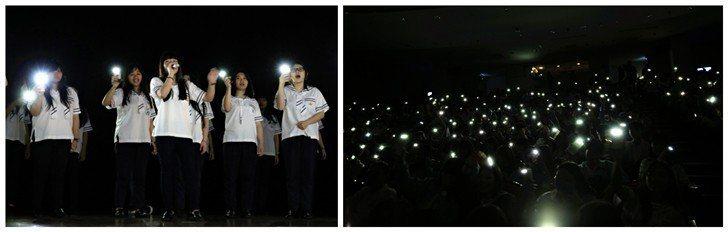 台上同學們以動人的歌聲,讓全場與會人士打開手機的照明燈,隨著悠揚旋律一同唱和。 ...
