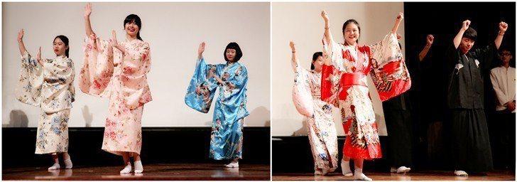同學們結合歌曲與舞蹈,以輕鬆活潑的方式來學習日文會話, 曹佳榮/攝影