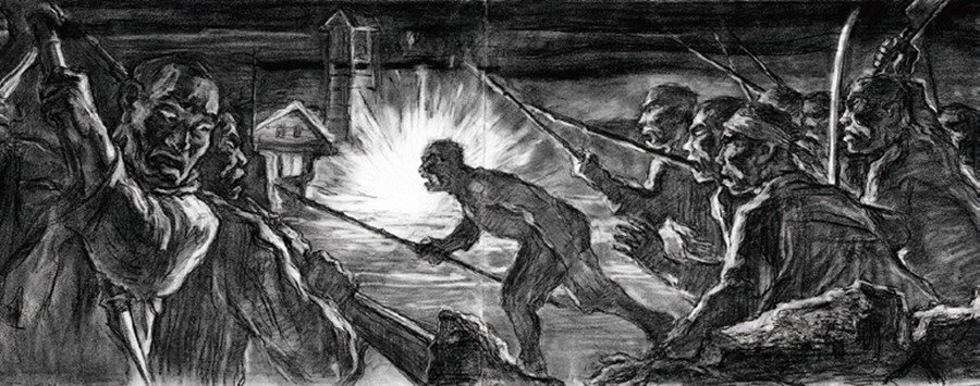 圖為濟州島出身的名畫家姜堯培,敘述濟州武裝隊夜襲起事的作品,《攻擊》。 圖/濟州...