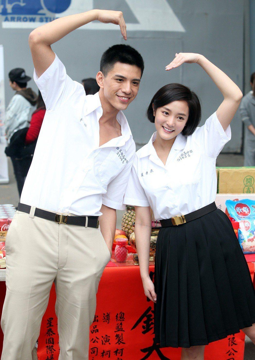 林柏叡(左)及王淨(右)一同演出電影版「鬥魚」。記者侯永全/攝影