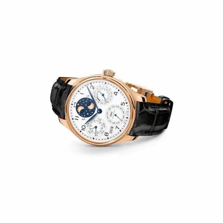 IWC葡萄牙系列萬年曆腕表「150週年」特別版,125萬3,000元。圖/萬國表...