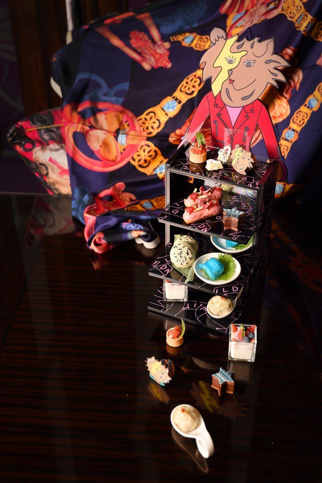 台北W飯店聯手Daniel Wong推出「狂艷部落」雙人下午茶。圖/台北W飯店提...