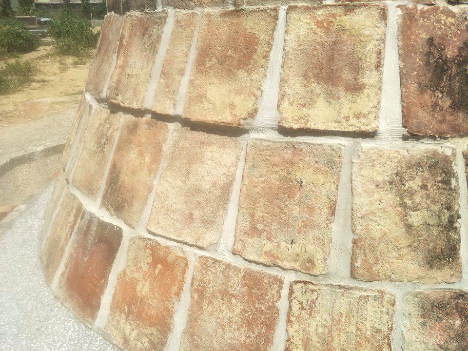 台南新市福安宮重建,完成「木柵媽祖」基座,利用廟方出土近300年「大腳磚」為建材...