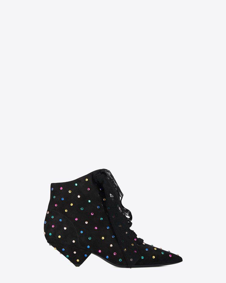 BLAZE黑色麂皮與多色水鑽短靴,價格店洽。圖/Saint Laurent提供