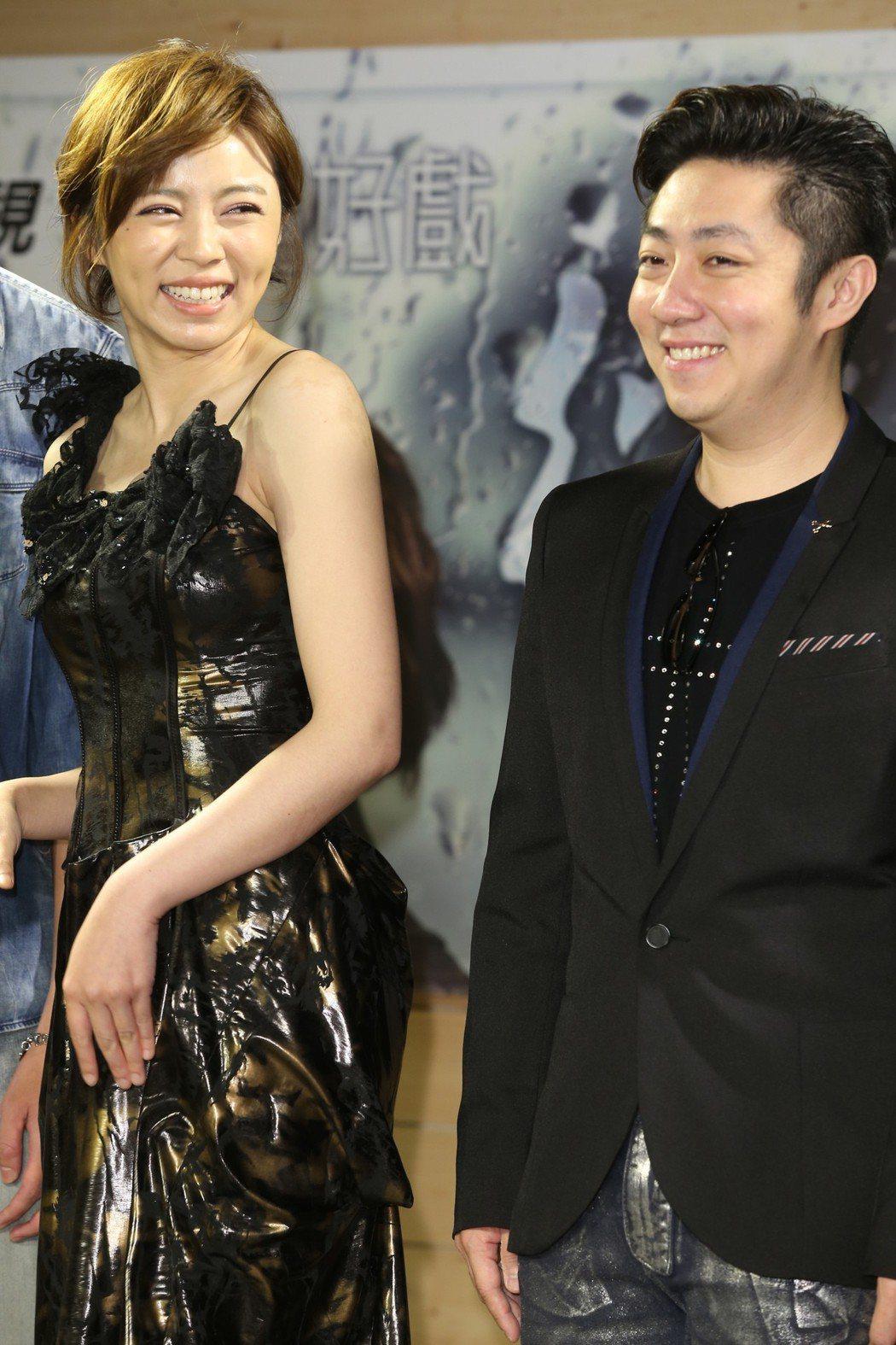 王瞳與男友艾成出席試片會為新戲宣傳。記者徐兆玄/攝影