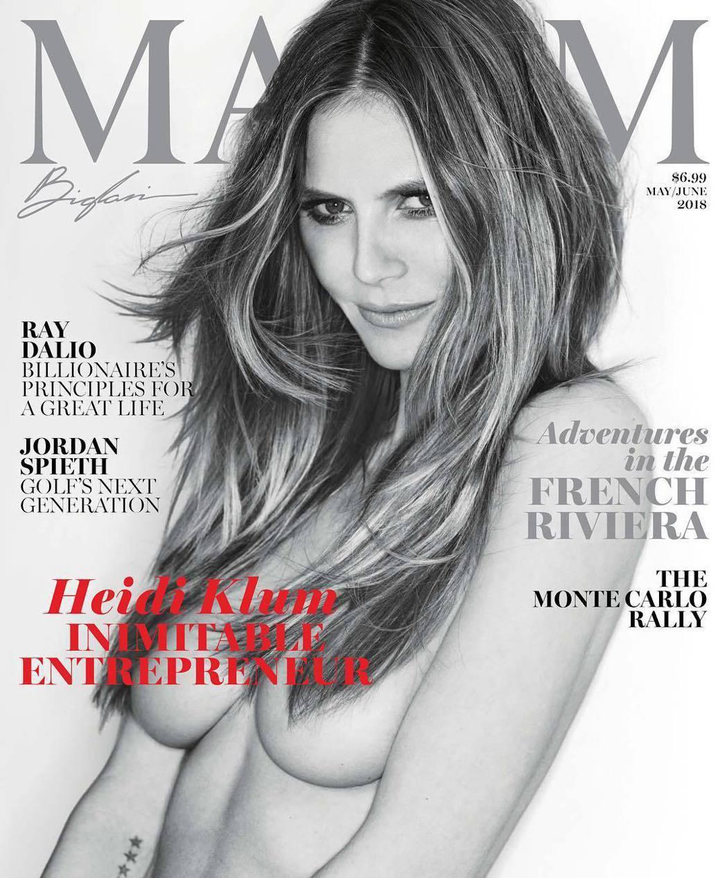 海蒂克隆對裸體態度大方,還是不時為雜誌寬衣解帶。圖/摘自Instagram