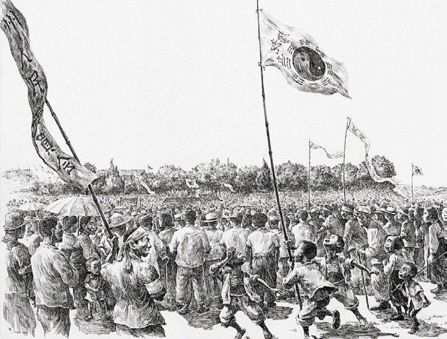 圖為濟州島出身的名畫家姜堯培,敘述濟州人迎來「大韓民國」建國的作品,《解放》。 ...