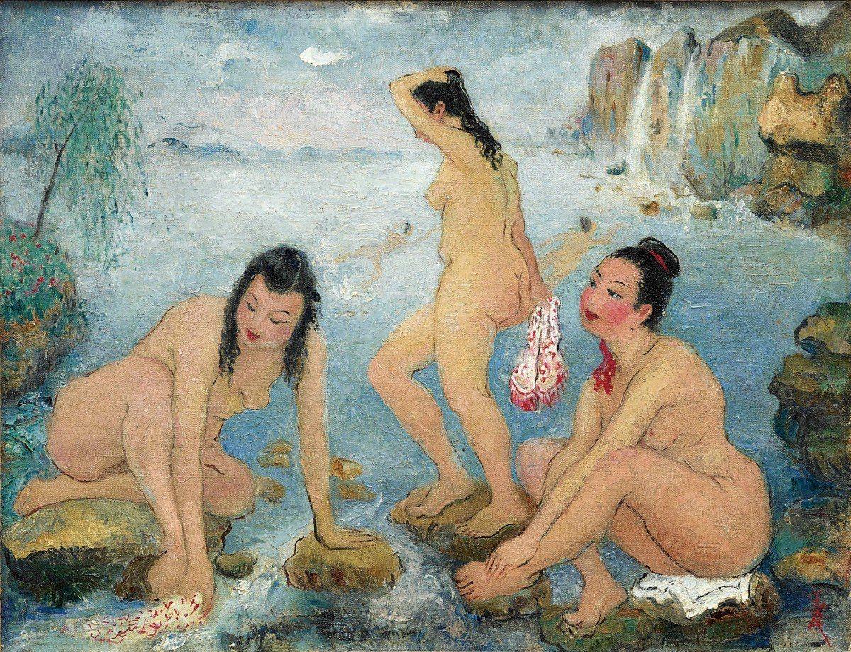 潘玉良 海邊五裸女 油畫畫布 50x65cm 約1958 HKD 27...