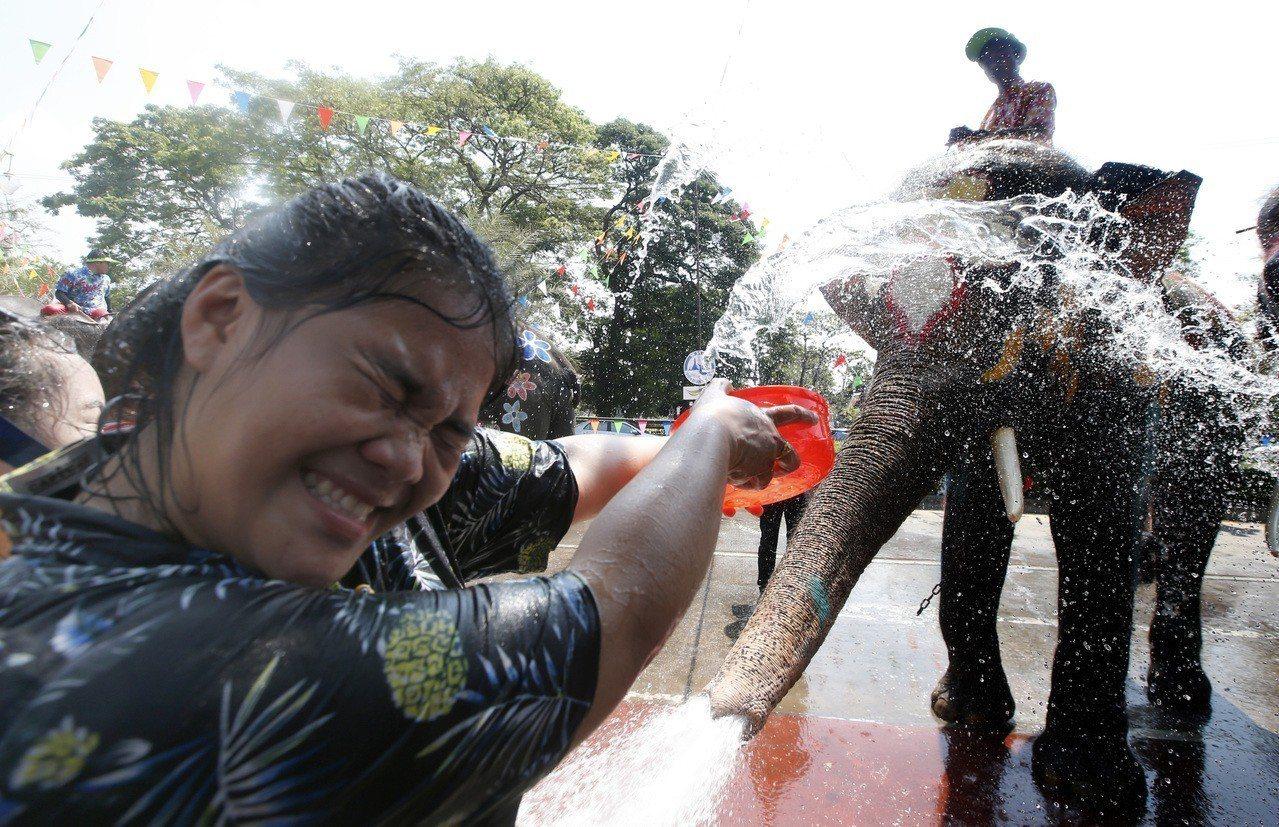 一名遊客11日在泰國大城府(Ayutthaya)與大象互相噴水以慶祝泰國傳統新年...