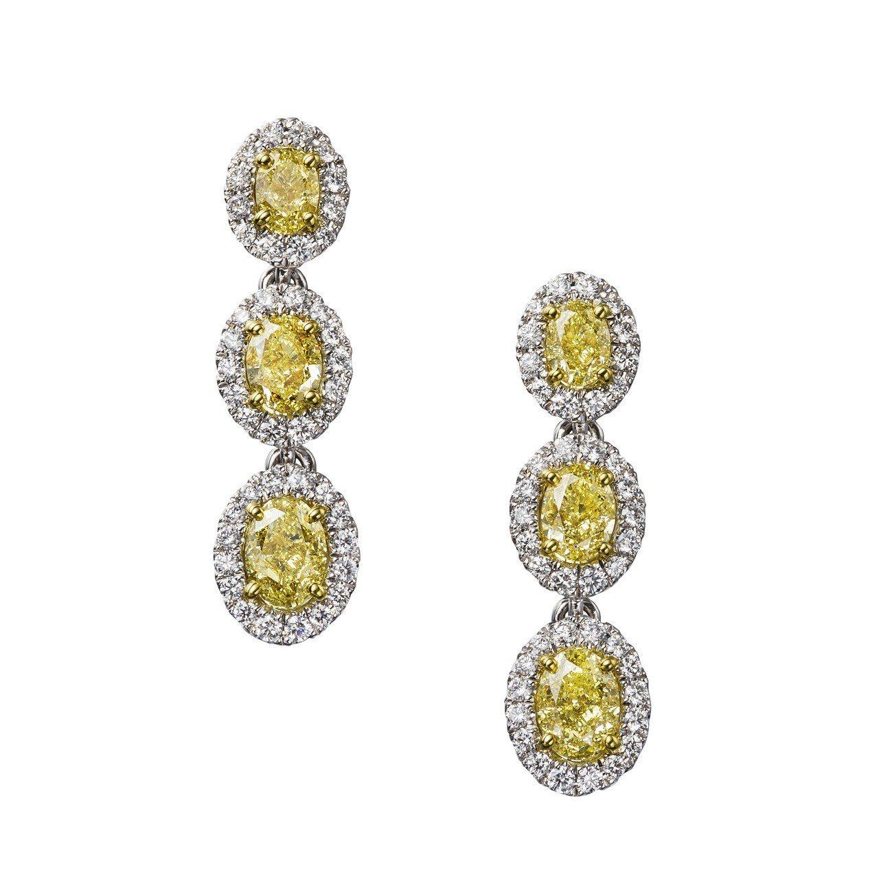 De Beers Aura 高級珠寶黃鑽三顆鑽石耳環,總重7.04克拉,160萬...