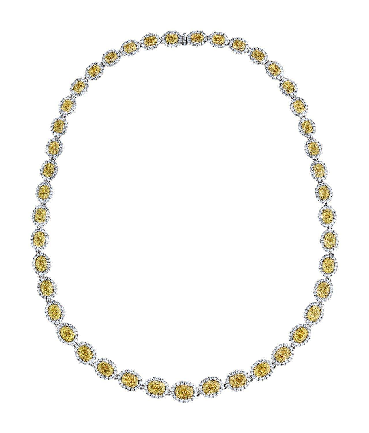 De Beers Aura 高級珠寶系列橢圓形車工黃鑽項鍊總重54.4克拉,98...