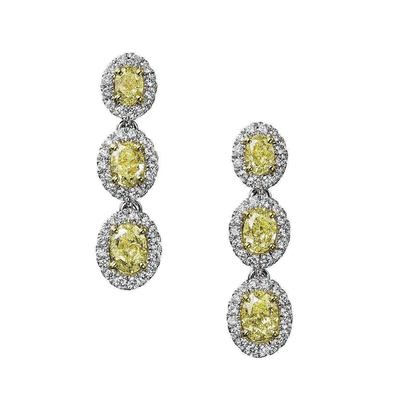 De Beers Aura高級珠寶黃鑽三顆鑽石耳環,總重7.04克拉,一對160...