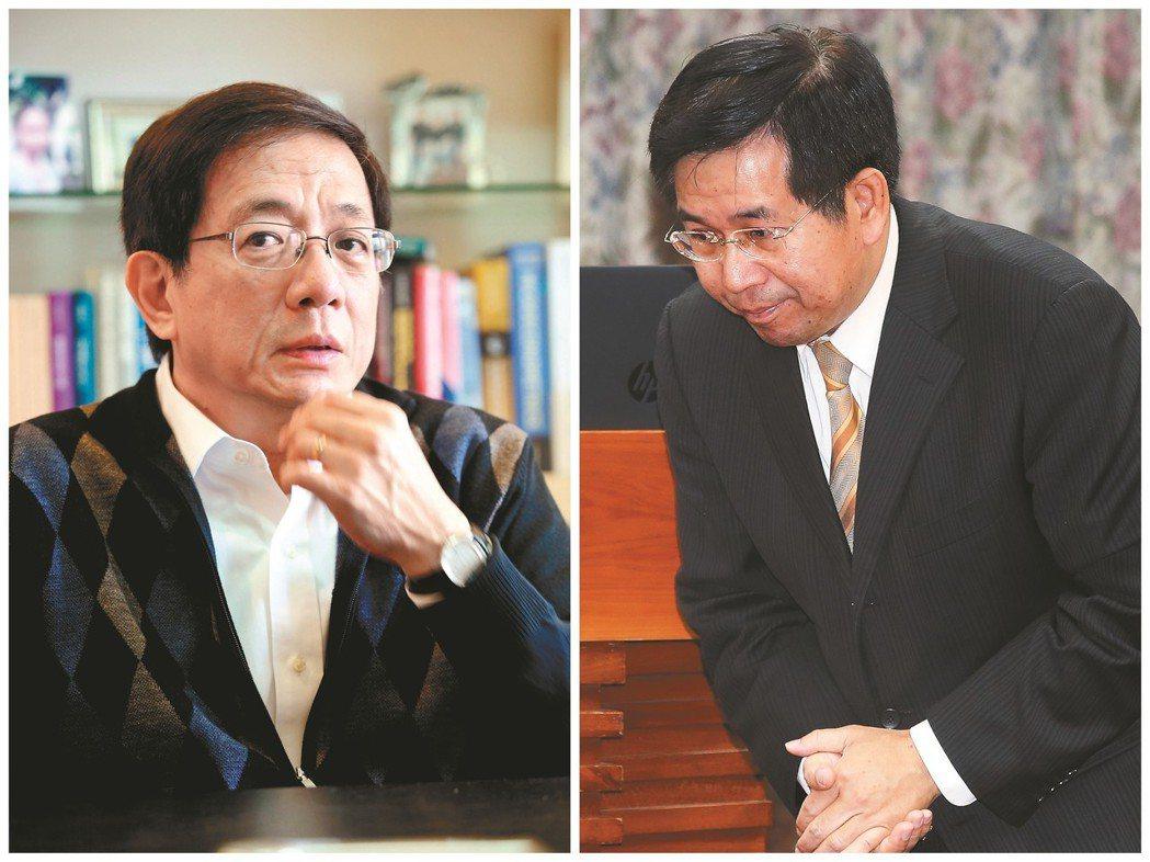 卡管案延燒三個多月,教長潘文忠(右)請辭,表示「希望台大校長遴選爭議能夠盡速落幕...