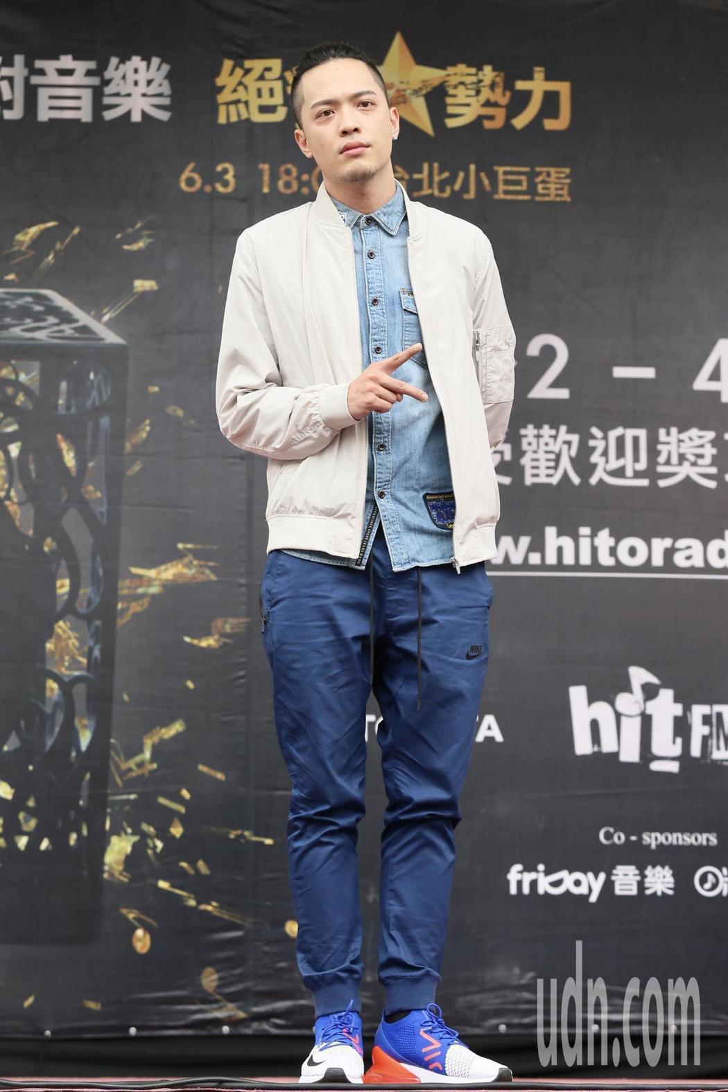 入圍最受歡迎新人的J.Sheon現身Hito流行音樂獎台北西門紅樓造勢活動。記者...