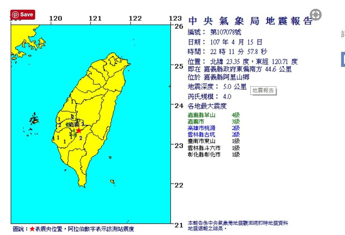 今天上10時11分,嘉義縣阿里山鄉發生芮氏規模4.0地震。圖/截取自氣象局網站
