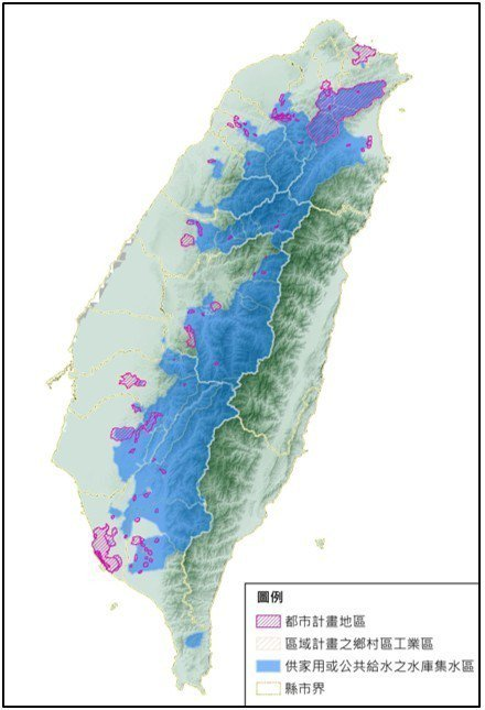 全台水庫集水區內都市計畫地區分布示意圖。 圖/營建署提供