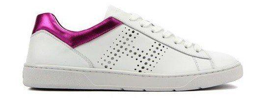 HOGAN H327 紫紅色異材質拼接休閒鞋,12,500元。圖/迪生提供