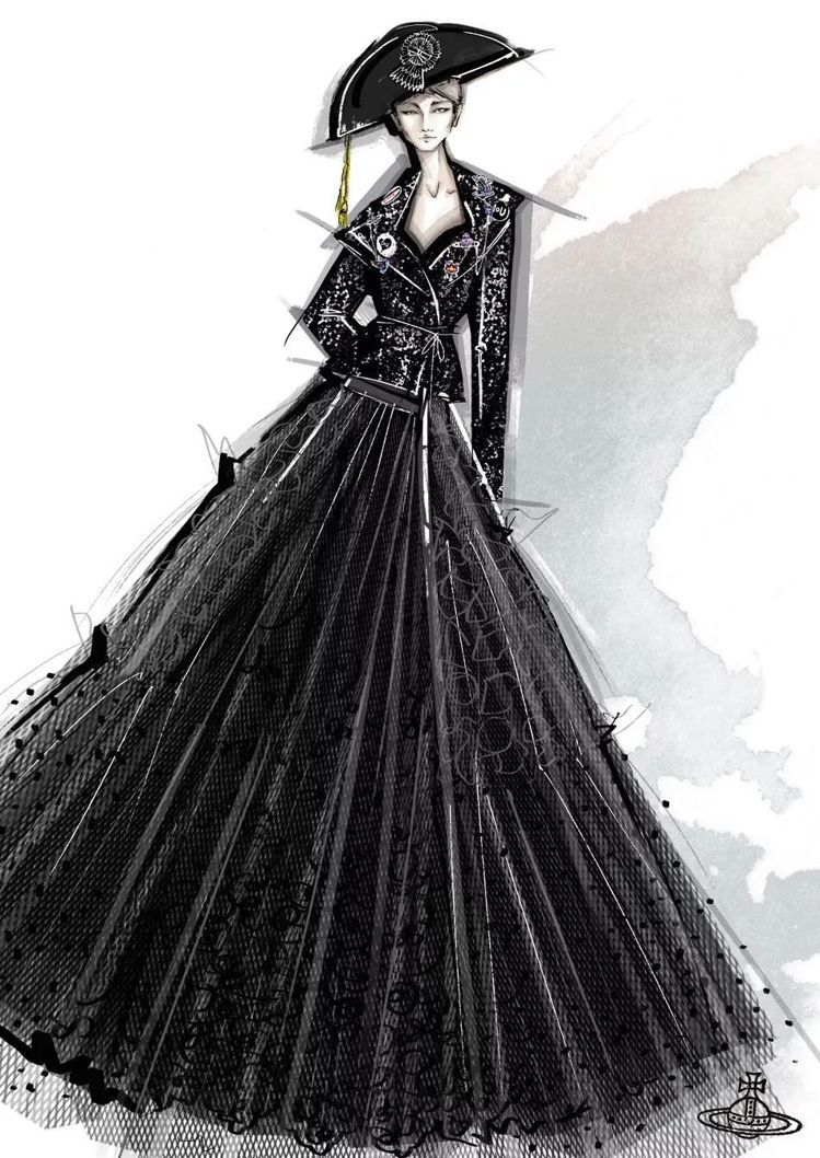 Vivienne Westwood為李宇春設計的舞台造型手稿。圖/摘自微博