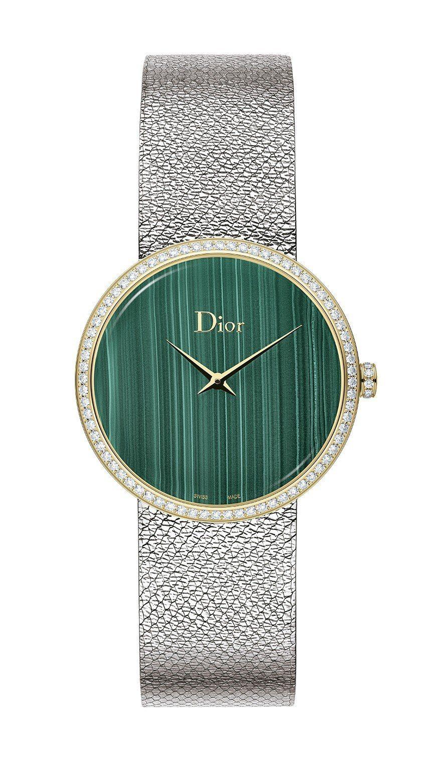 Dior La D de Dior Satine腕表,不鏽鋼表殼搭配18K金表圈...