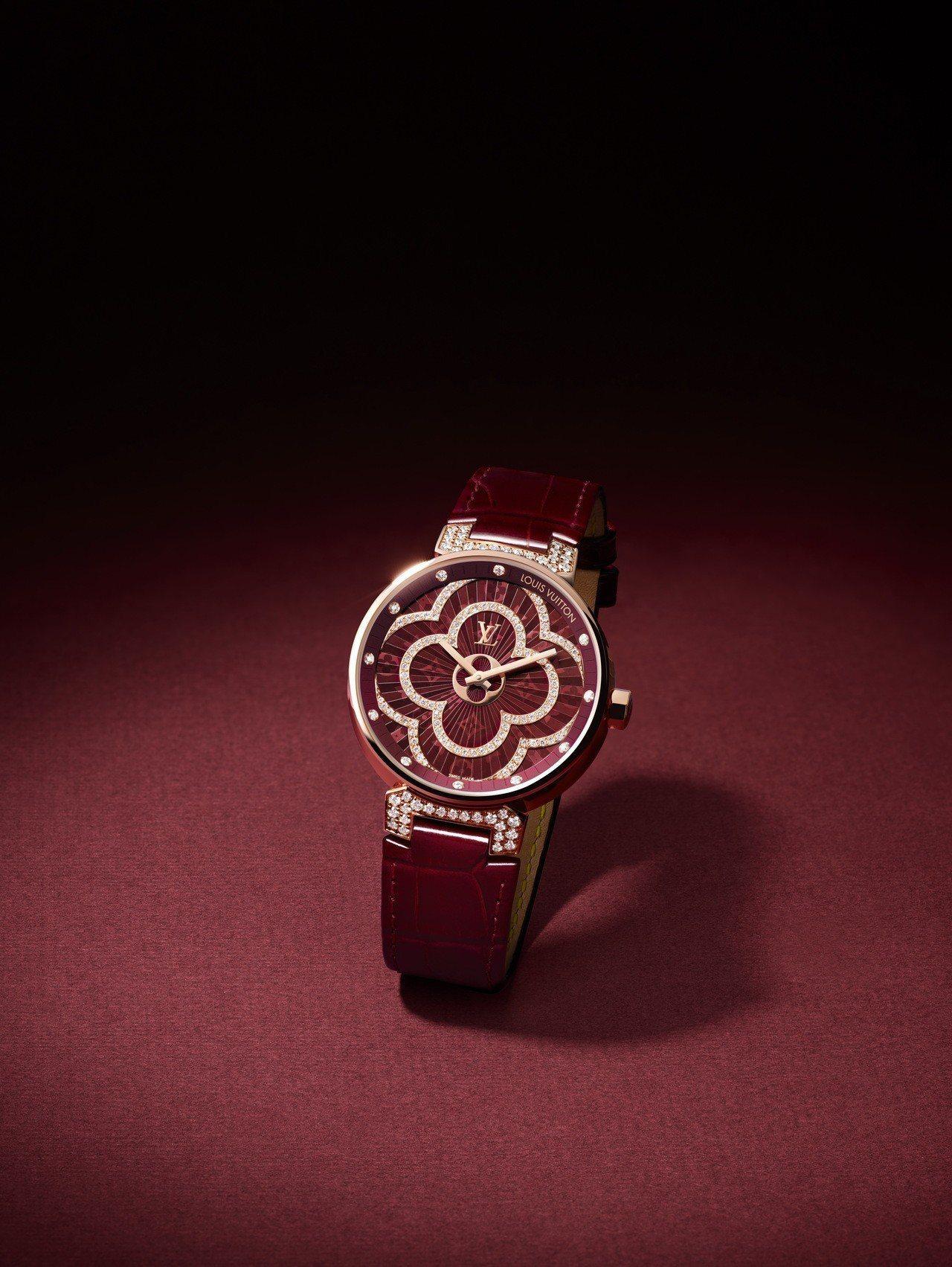 路易威登Tambour Moon Divine鑲鑽玫瑰金腕表,18K玫瑰金表殼、...