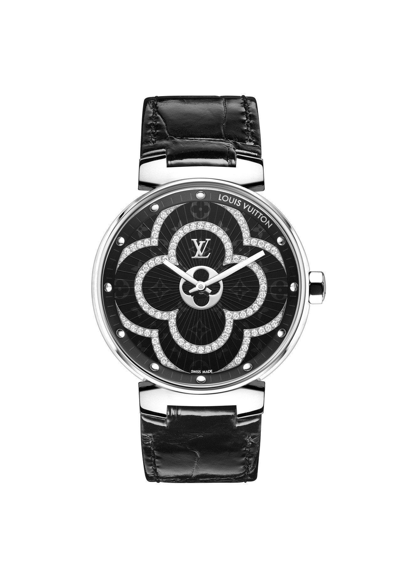 路易威登Tambour Moon Divine腕表,不鏽鋼表殼及表耳,黑色漆面鑲...
