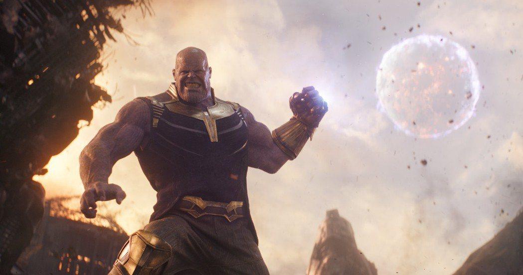 超級大反派薩諾斯在「復仇者聯盟:無限之戰」地位非凡,戲分不少。圖/迪士尼提供