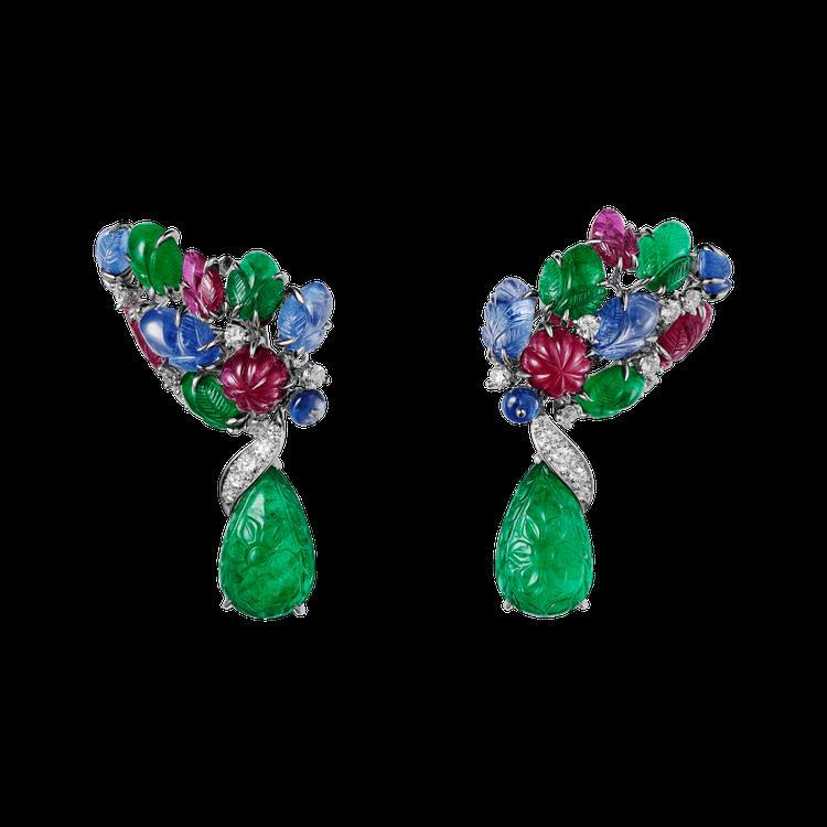 Rudravina Tutti Frutti 耳環,2 顆梨形祖母綠主石為可拆卸...