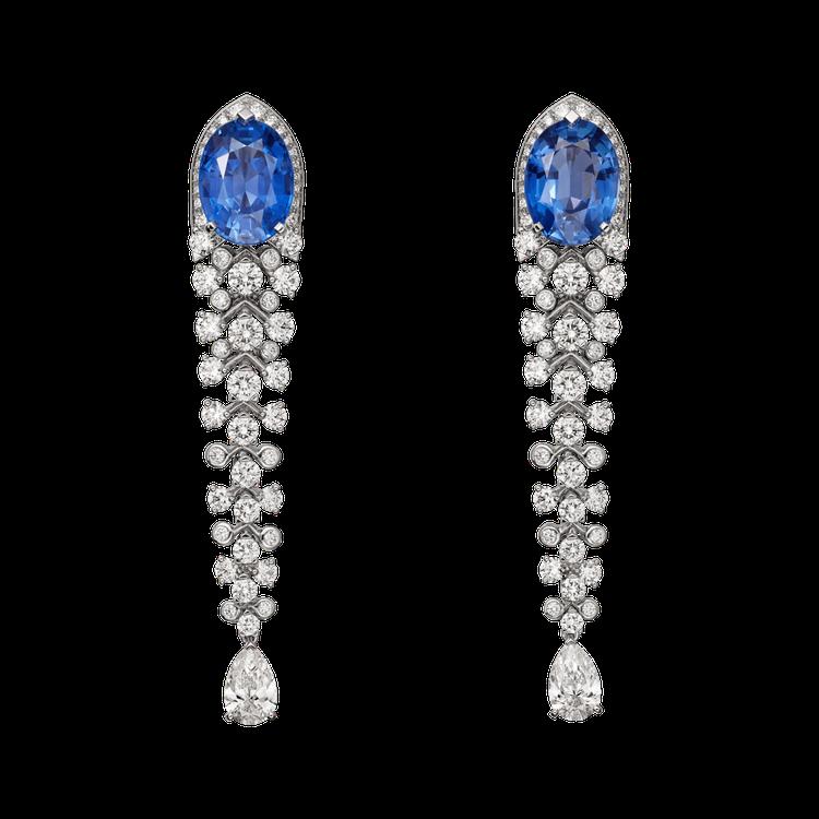 Blue Legato 藍寶石鑽石耳環鑲嵌2 顆橢圓形錫蘭藍寶石主石共 10.6...