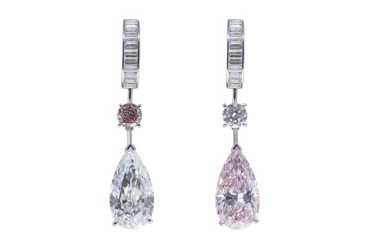 最高價的Pink Echo不對稱耳環,左右邊各垂墜1顆6.32克拉的梨形切割濃彩...