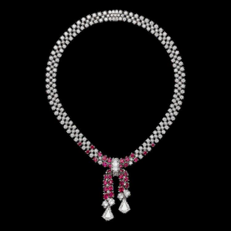 Exaltée 紅寶石鑽石項鍊,2顆總重 5.35 克拉的盾狀切割鑽石、33 ...