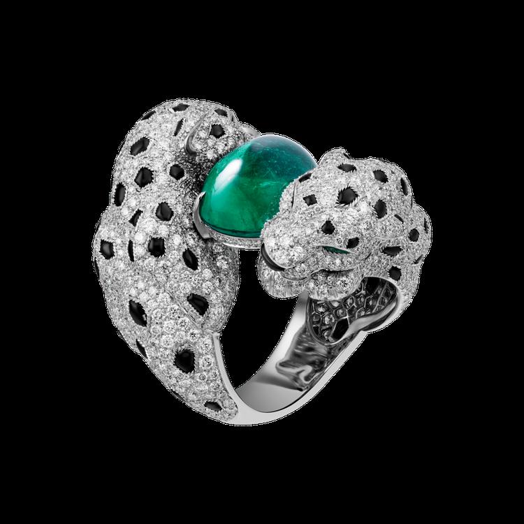 Panthere Embrassée 美洲豹戒指,鑲嵌12.51 克拉圓拱型切...