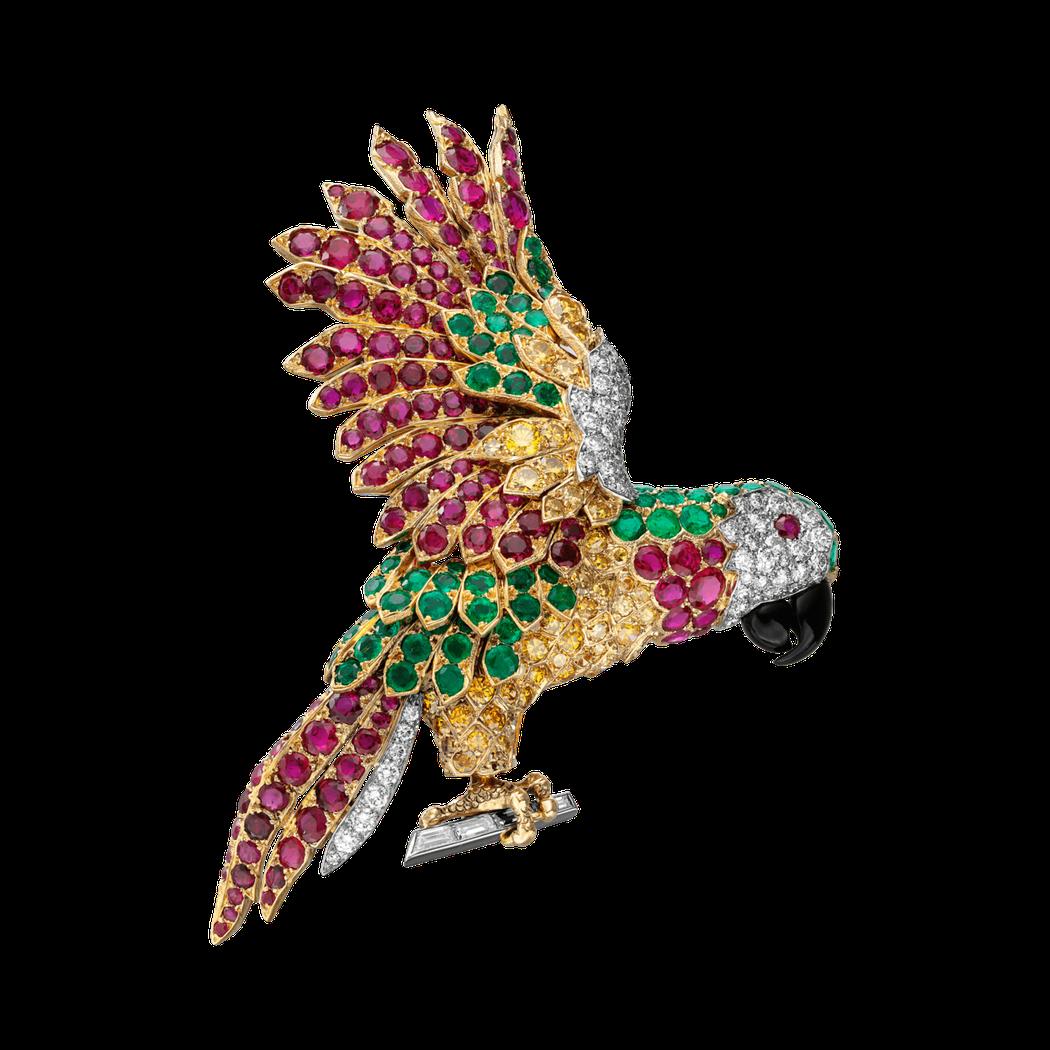 卡地亞古董珍藏系列鸚鵡造型夾式胸針,卡地亞巴黎,1962 年作品。1,700萬元...
