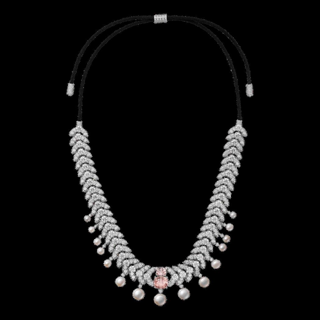 Virelai 帕德瑪藍寶石珍珠項鍊/髮帶,主石為2 顆枕形天然帕德瑪藍寶石(P...