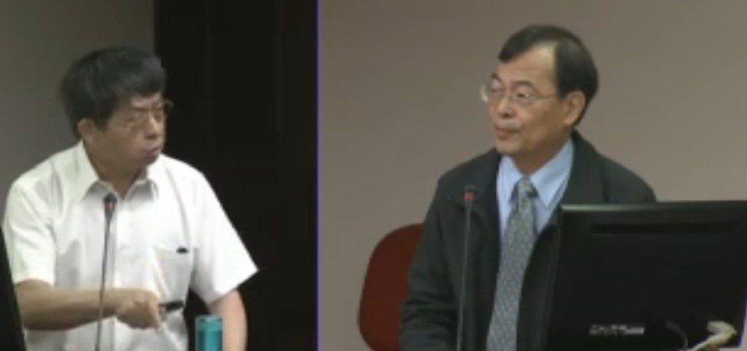 民進黨立委吳焜裕(左)出示佛像與誓言,要求台電總經理鍾炳利(右)立誓,取信於民眾...