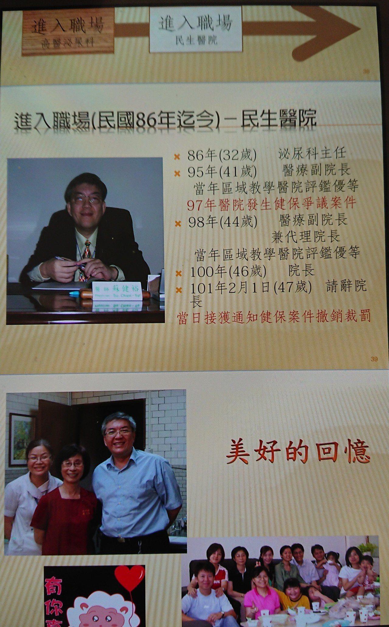 蘇健裕32歲當上泌尿科主任、41歲成為醫療副院長,期間歷經民生醫院健保爭議風波,...