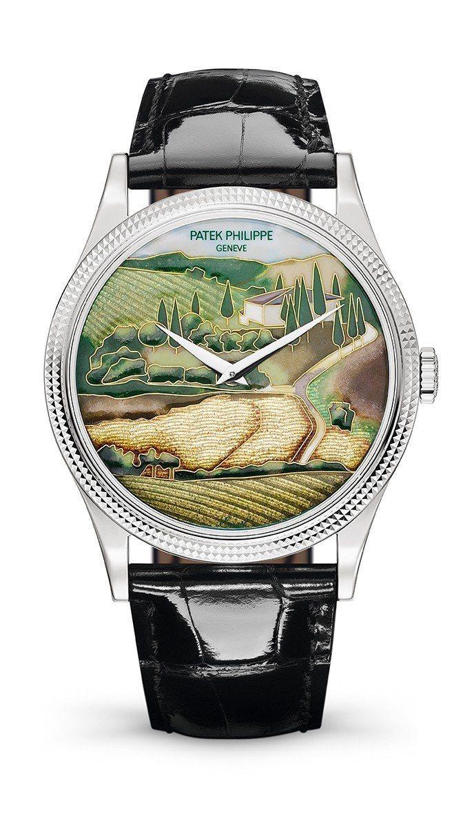 編號5177g的Calatrava腕表,琺瑯表盤描繪義大利托斯卡尼地區的風景。圖...