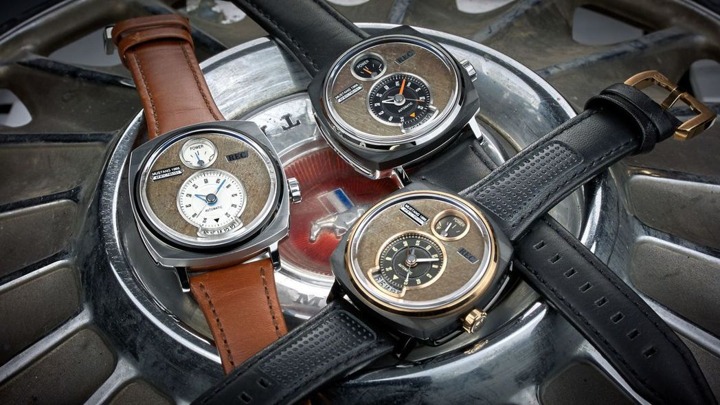 以經典Ford Mustang上的零件,手工精心打造而成的高級腕錶。 圖/FOR...