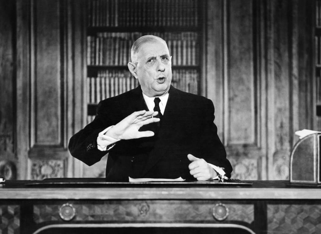 右派的「共和黨」認為國會改革違反戴高樂的共和價值,威脅到法國憲政。圖為戴高樂,他...