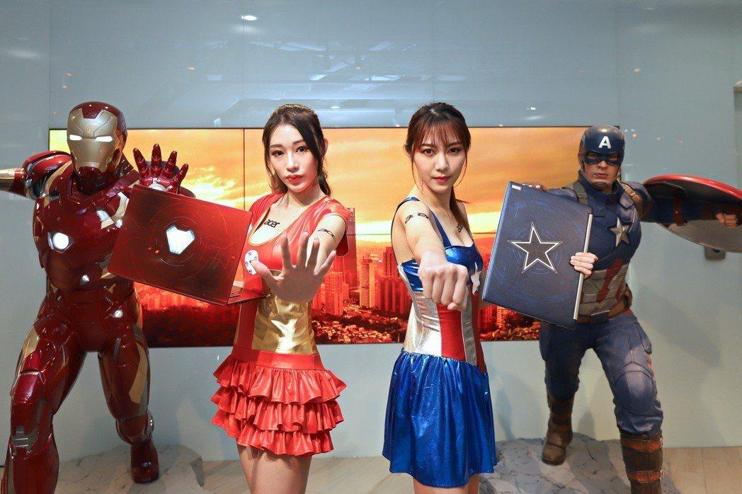 宏碁與Marvel合作,推三款限量筆電,左起鋼鐵人版Swift 3、美國隊長版A...