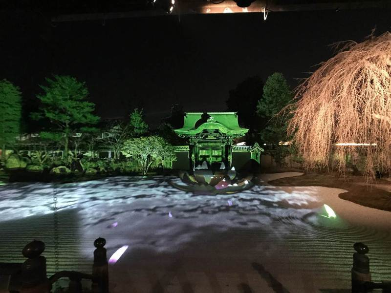 高台寺的夜間參拜在光雕的烘托下,迷離而夢幻。有行旅提供