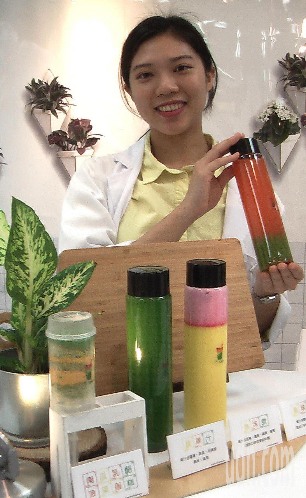 「鮮果。試F2 Lab」是充滿實驗室風格的蔬果飲品潮店。記者徐如宜/攝影