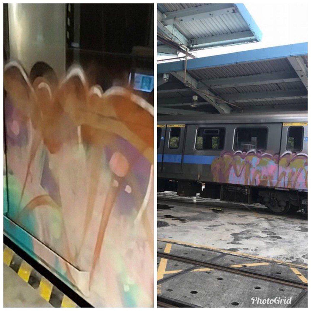 警方比對北捷北投機廠的塗鴉「作品」(右),左為高捷大寮機廠塗鴉,懷疑是同一群人所...