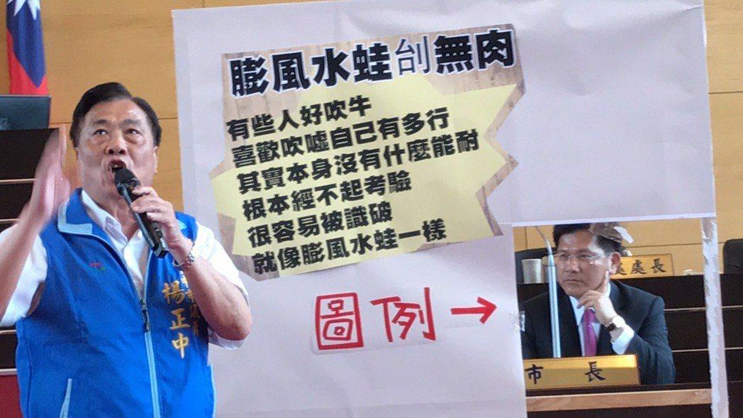 市議員楊正中批市長林佳龍吹牛。記者陳秋雲/攝影