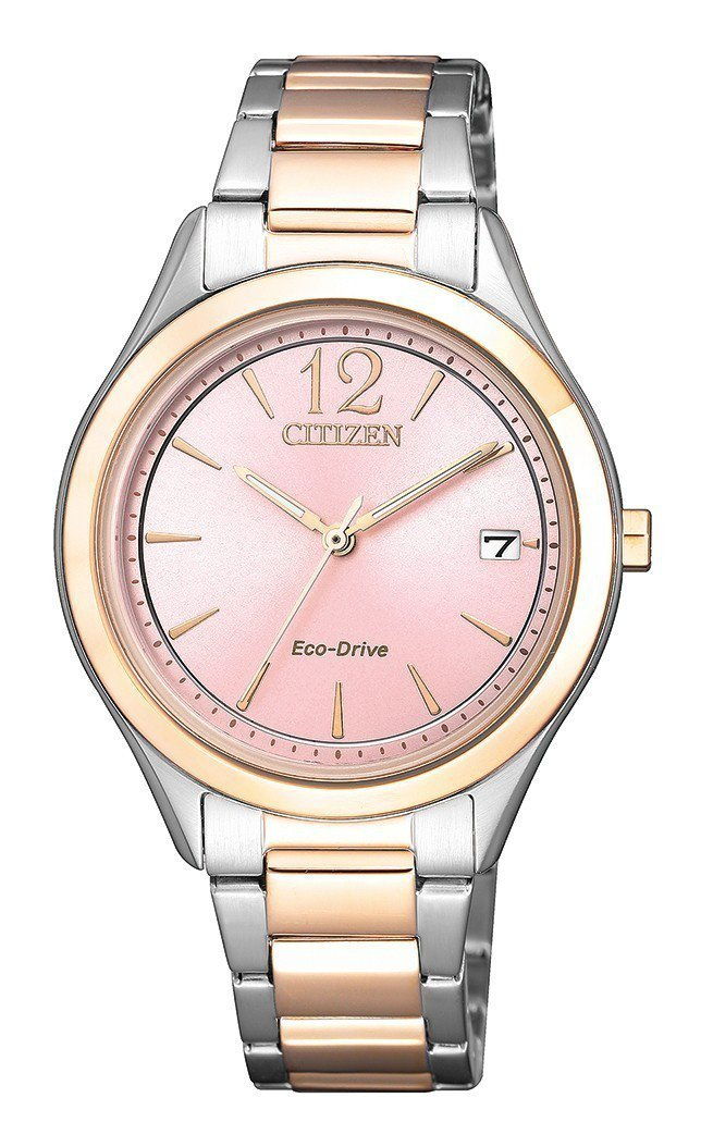 星辰FE6126-80X光動能腕表,不鏽鋼與玫瑰金鍍層表鍊,約8,800元。圖/...