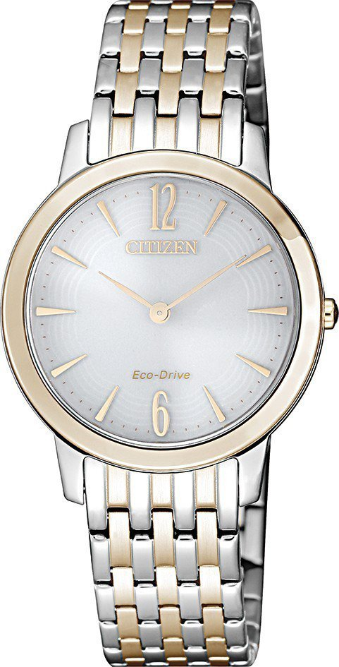 星辰EX1496-82A光動能腕表,不鏽鋼與玫瑰金鍍層表鍊,約9,900元。圖/...