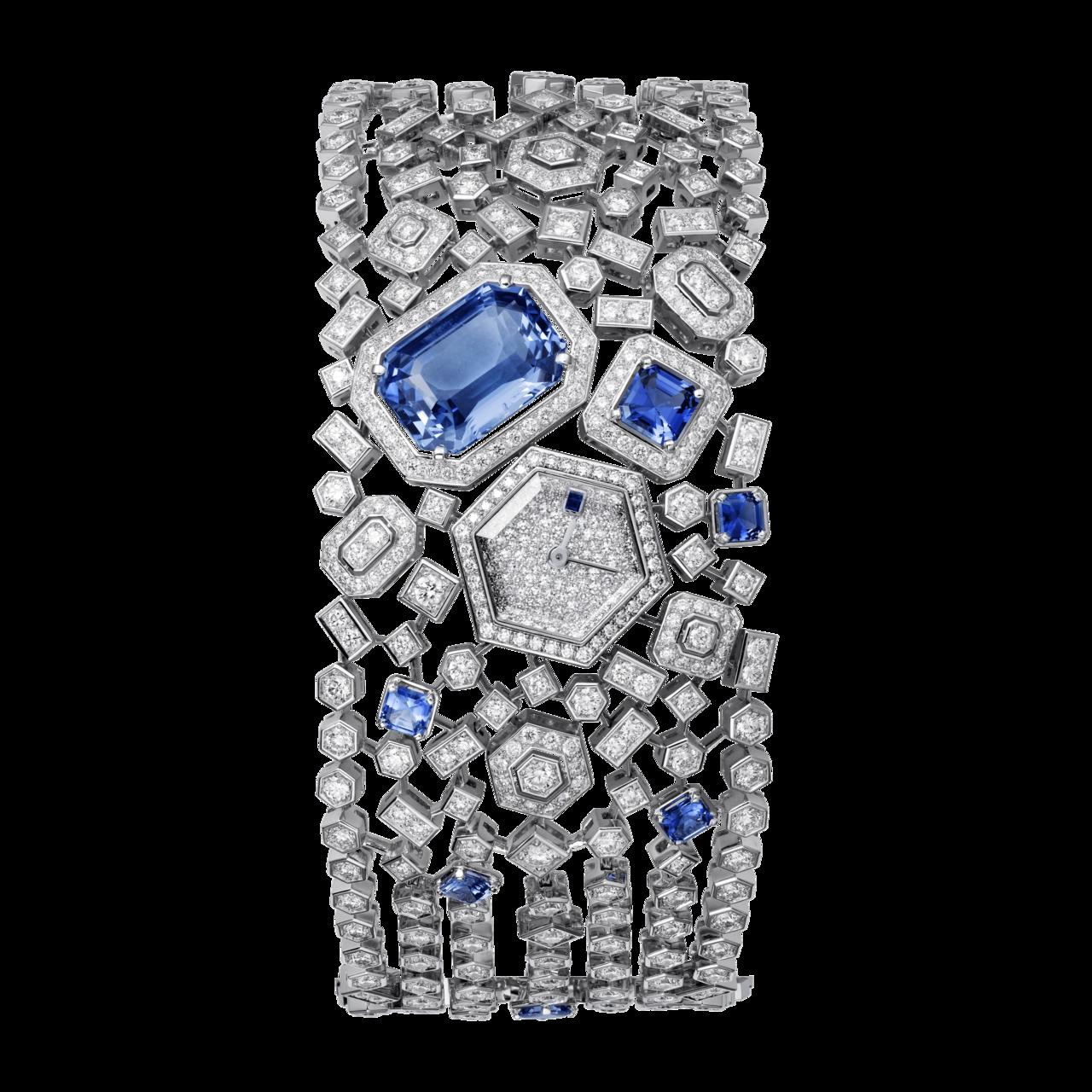 卡地亞頂級珠寶系列藍寶石腕表,白k金鑲嵌 8 顆共重 12.49 克拉的藍色藍寶...