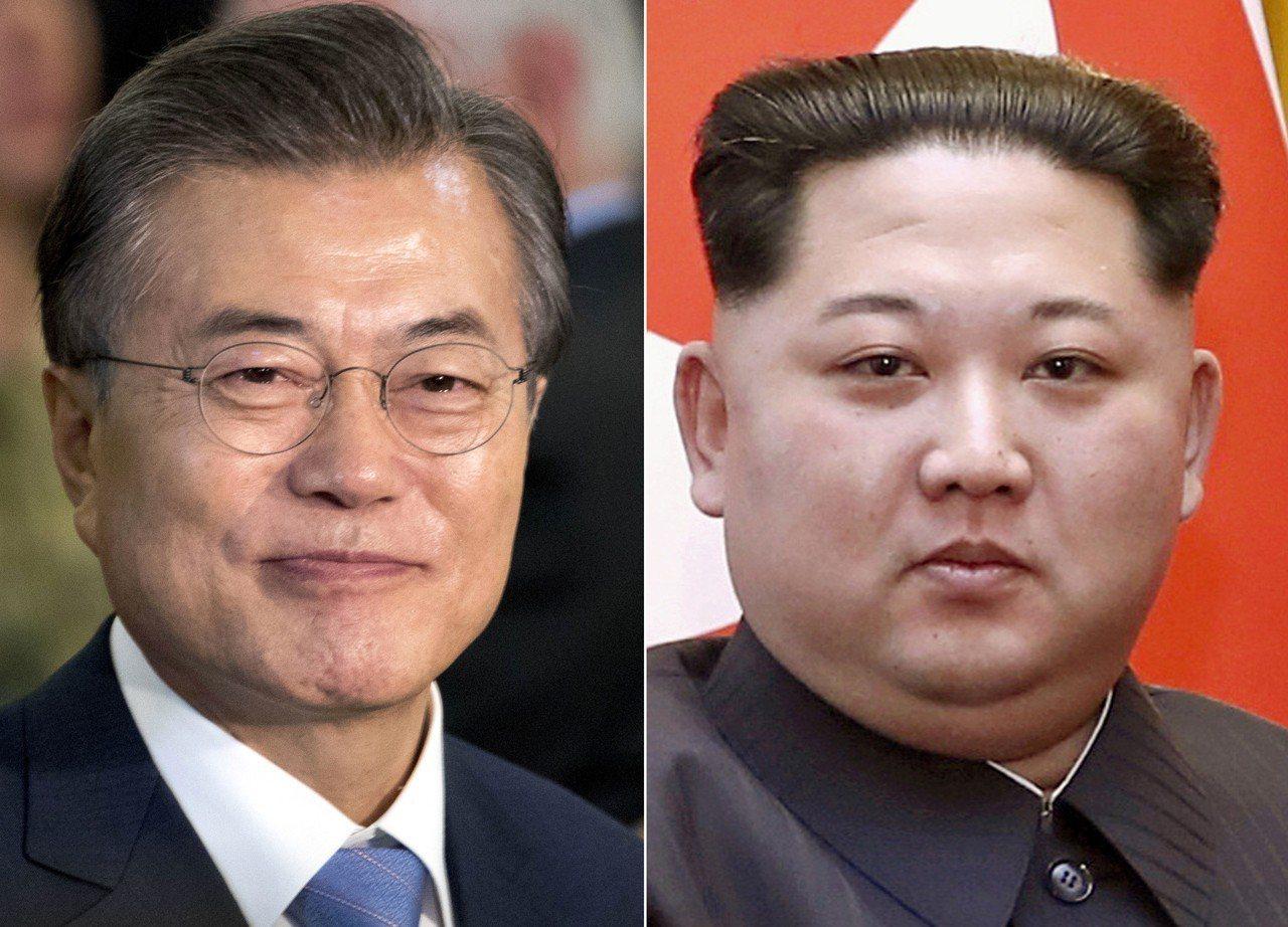 文在寅(左)與金正恩(右)將於27日會面。美聯社