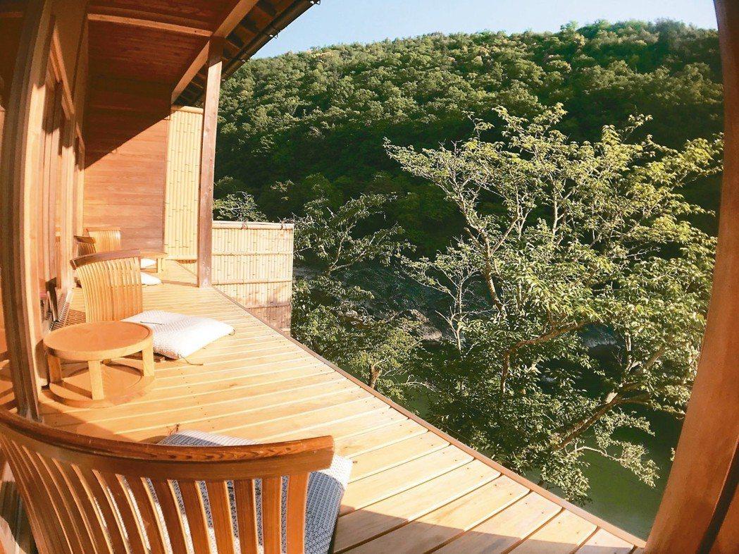 住宿嵐山星野,每一間客房都擁有絕美視野。 圖/有行旅提供